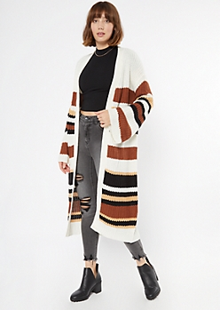 White Striped Flare Sleeve Long Duster Cardigan