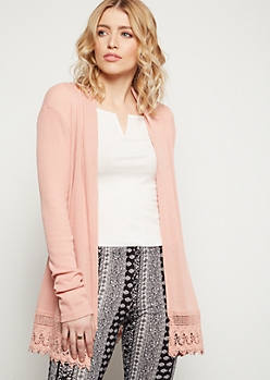 Pink Crochet Trim Open Front Cardigan