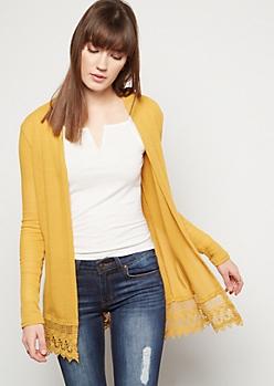 Mustard Crochet Trim Open Front Cardigan