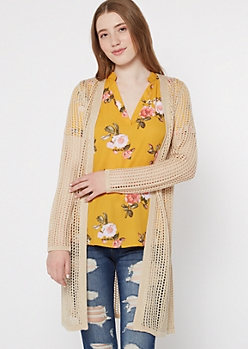 Tan Open Knit Longline Dolman Cardigan