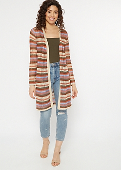 Tan Striped Open Knit Dolman Cardigan