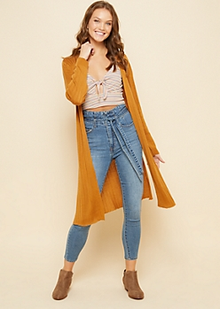 Camel Ribbed Knit Open Front Maxi Cardigan
