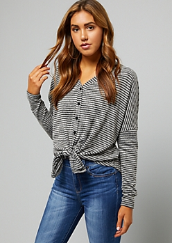 Gray Striped Hacci Knit Boxy Tie Front Cardigan