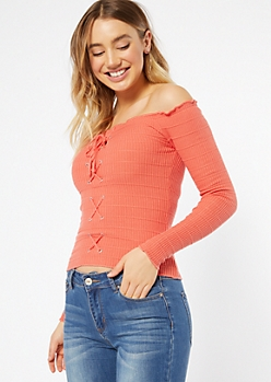 Coral Off The Shoulder Lace Up Top