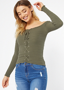 Olive Off The Shoulder Lace Up Top
