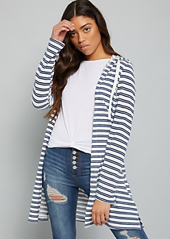 White Striped Hacci Knit Hooded Duster