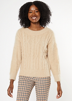 Taupe Cozy Cable Knit Sweater