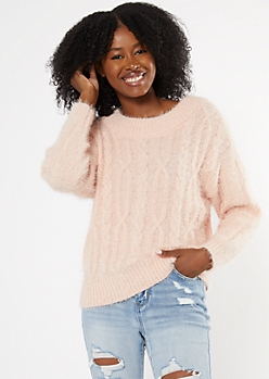 Pink Cozy Cable Knit Sweater
