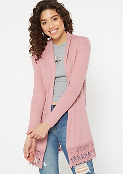 Dusty Pink Crochet Trim Cardigan