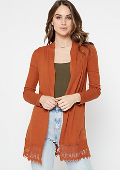 Burnt Orange Crochet Trim Cardigan