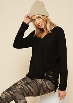 Black Ripped High Low V Neck Sweater