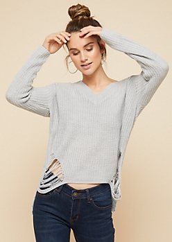 Light Gray Ripped High Low V Neck Sweater