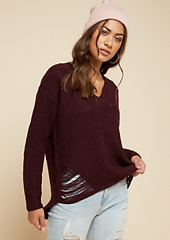 Dark Purple Ripped High Low V Neck Sweater