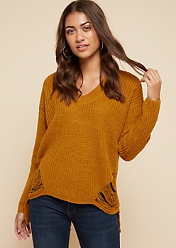 Brown Ripped High Low V Neck Sweater
