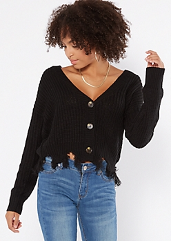 Black Button Front Distressed Cardigan