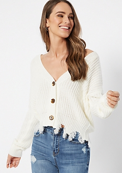 Ivory Button Front Distressed Cardigan