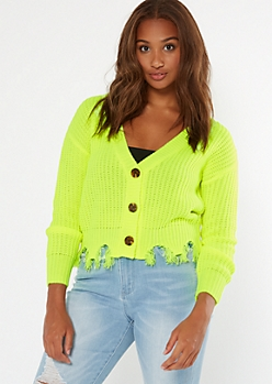 Neon Yellow Button Front Distressed Cardigan