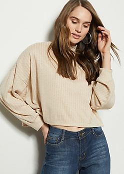 Nude Mock Neck Drop Shoulder Top