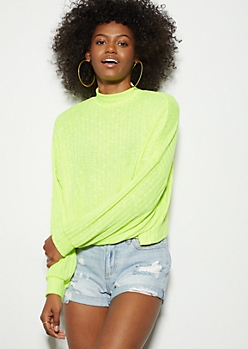 Neon Yellow Mock Neck Drop Shoulder Top