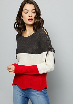 Red Colorblock Lace Up Shoulder Sweater