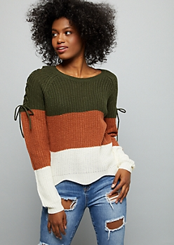 Burnt Orange Colorblock Lace Up Shoulder Sweater