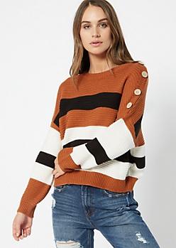 Cognac Striped Button Shoulder Drop Sleeve Sweater