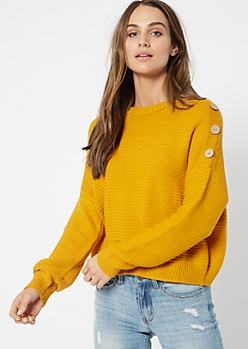 Mustard Button Shoulder Drop Sleeve Sweater