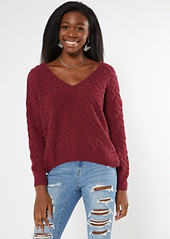 Burgundy V Neck Pointelle Matte Chenille Sweater
