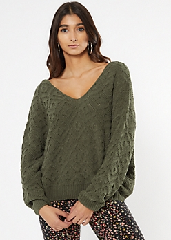 Olive V Neck Pointelle Matte Chenille Sweater