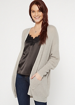 Gray Double Pocket V-Cut Back Cardigan