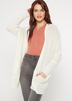 Ivory Double Pocket V-Cut Back Cardigan