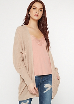 Taupe Double Pocket V-Cut Back Cardigan