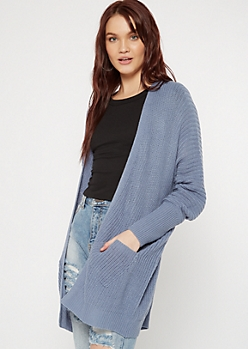 Blue Double Pocket V-Cut Back Cardigan