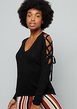 Black Lace Up Sleeve V Neck Sweater