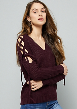 Purple Lace Up Sleeve V Neck Sweater