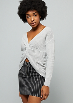 Gray Knotted Reversible Sweater