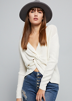 Cream Knotted Reversible Sweater