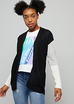 Black Colorblock Open Front Cardigan