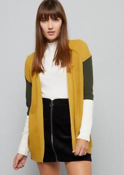 Mustard Colorblock Open Front Cardigan