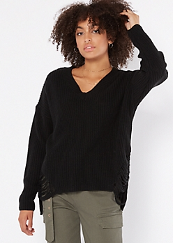 Black High Low Distressed Hem Sweater