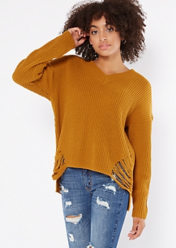 Mustard High Low Distressed Hem Sweater