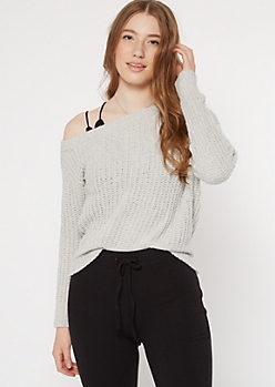 Gray Chenille Off The Shoulder Sweater