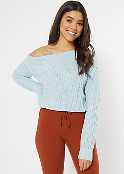 Blue Chenille Off The Shoulder Sweater
