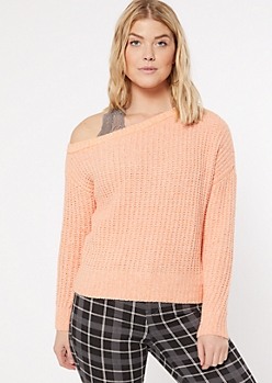 Coral Chenille Off The Shoulder Sweater