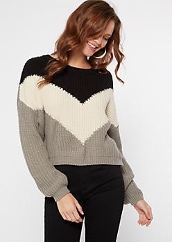 Black Colorblock Chevron Crew Neck Sweater