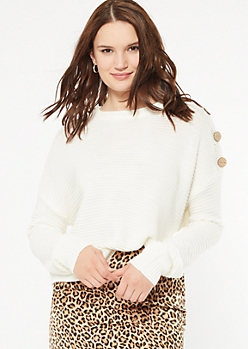 Ivory Button Shoulder Sweater