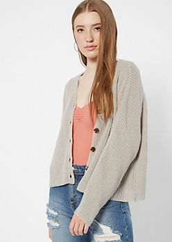 Gray Button Front Cardigan