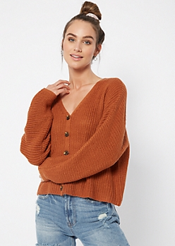Burnt Orange Button Front Cardigan