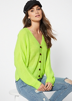 Neon Green Button Front Cardigan