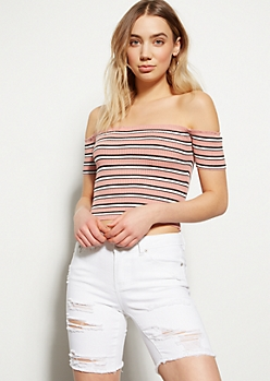 Pink Striped Off The Shoulder Crop Top